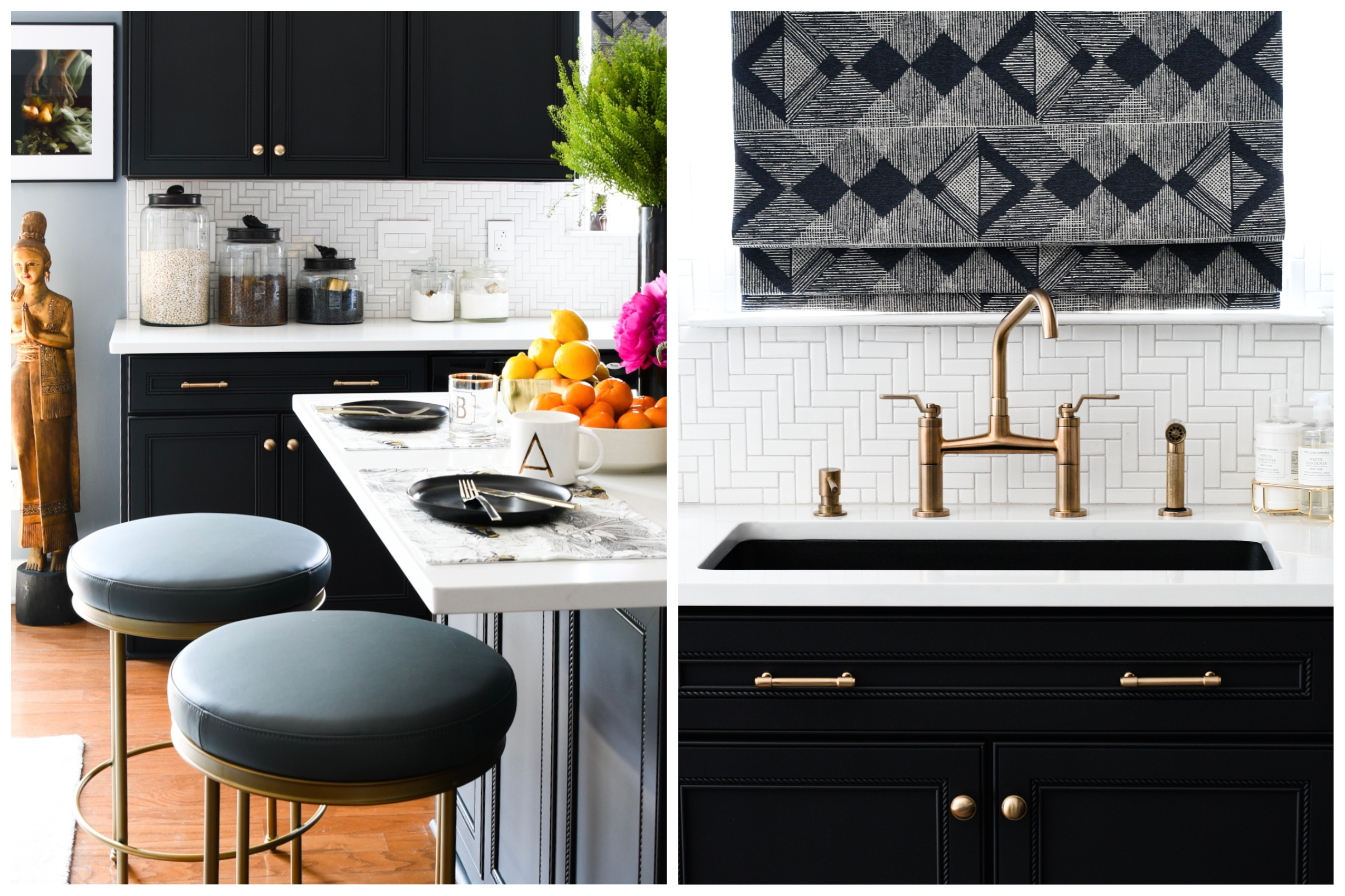 modern black and white kitchen close up of white herringbone tiled backsplash