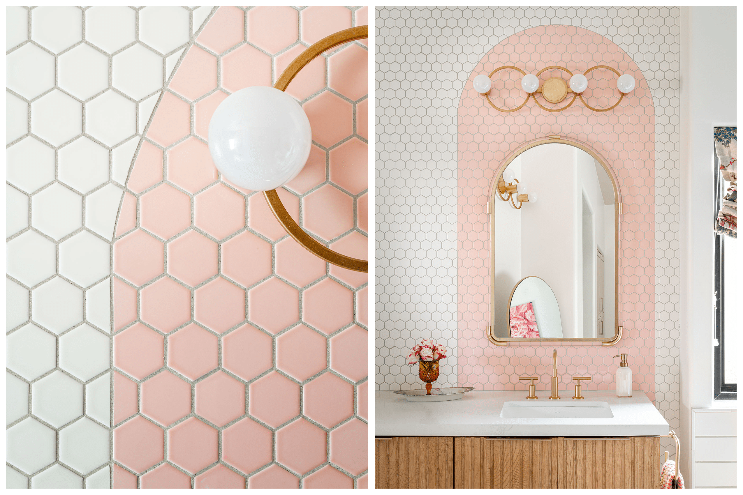 white and pink tiled bathroom with tiled arched details