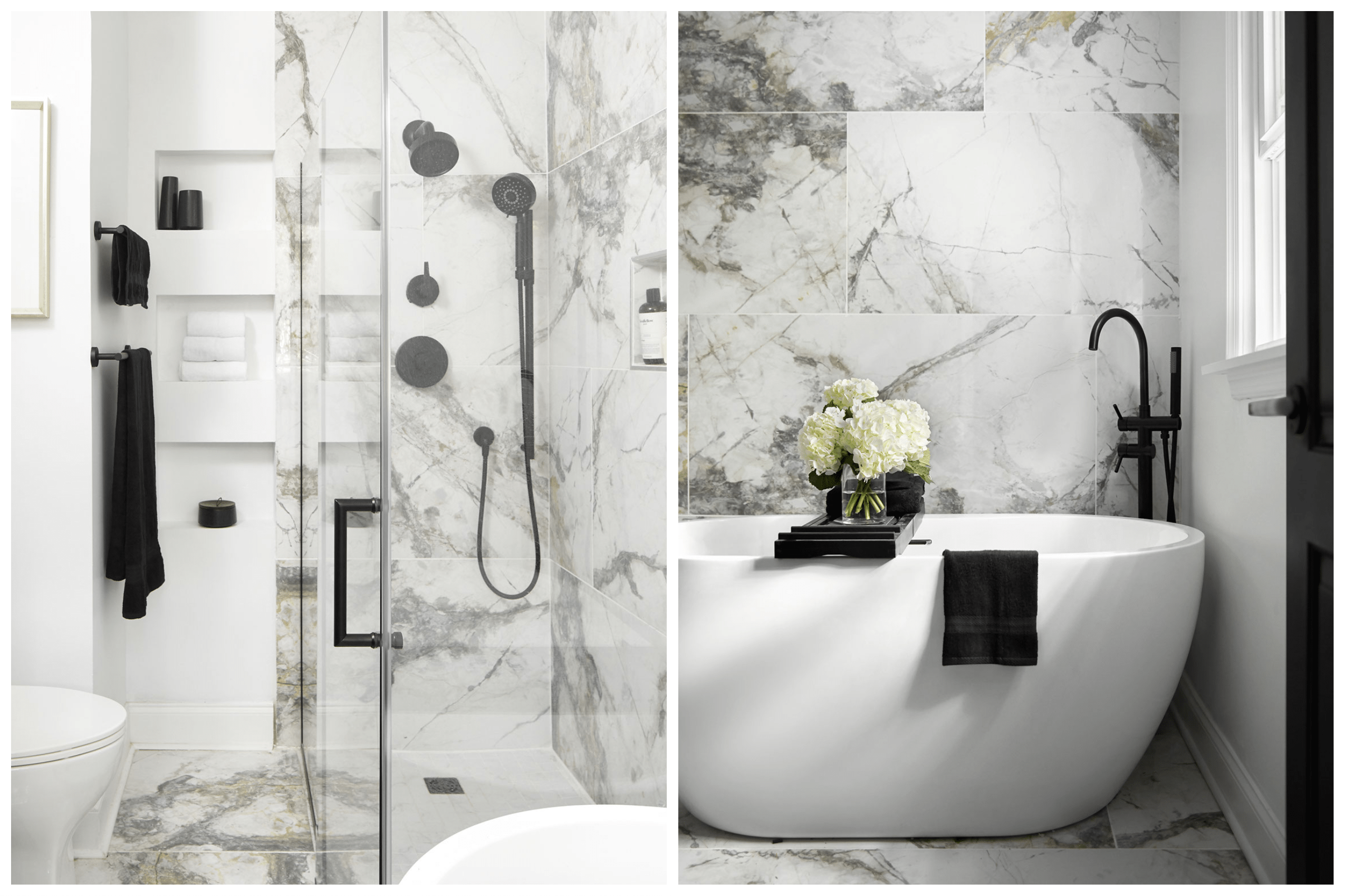 white marble-look tiled bathroom with large bathtub and shower