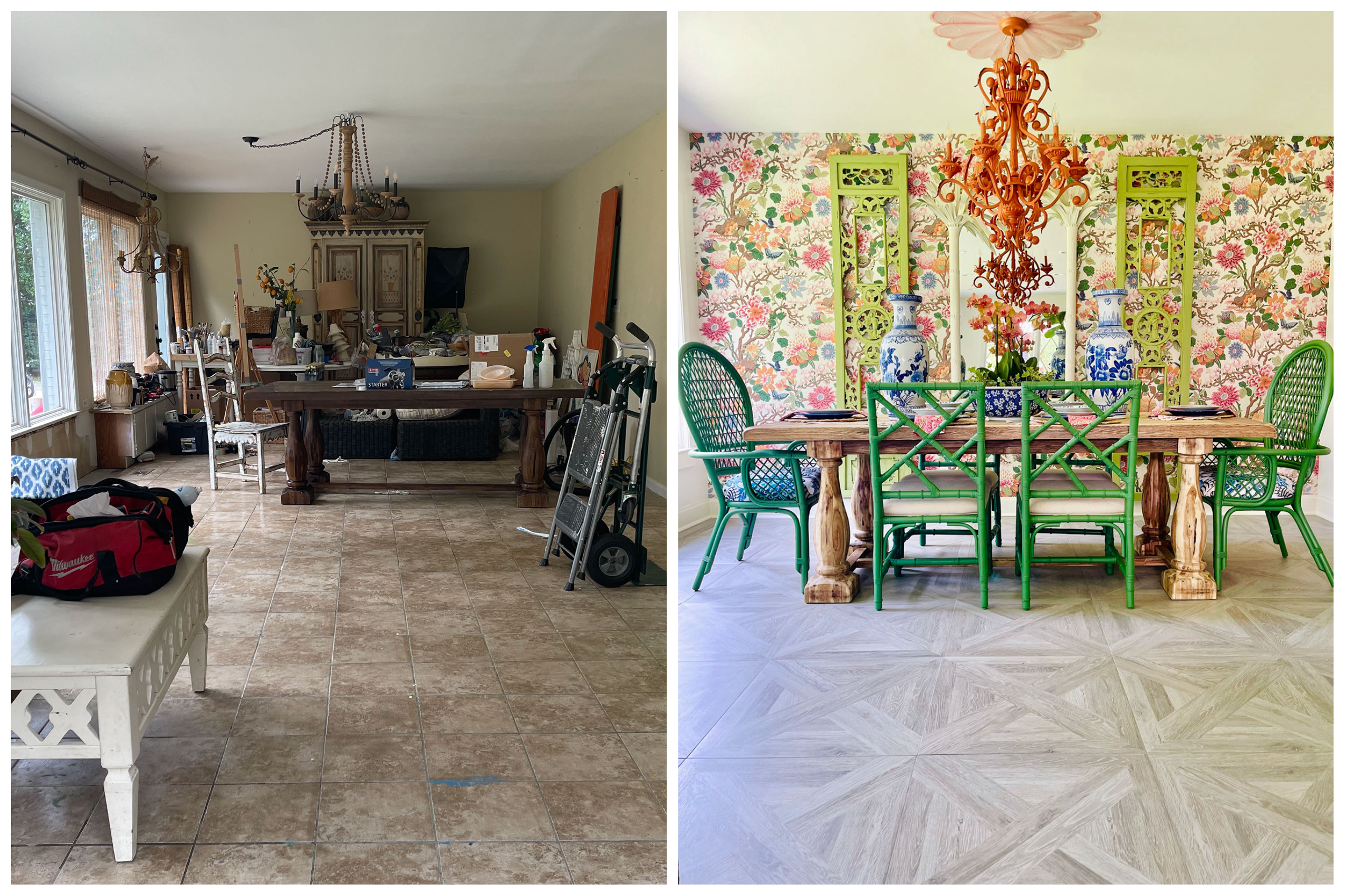 before and after of dining area with colorful floral wallpaper and green dining chairs