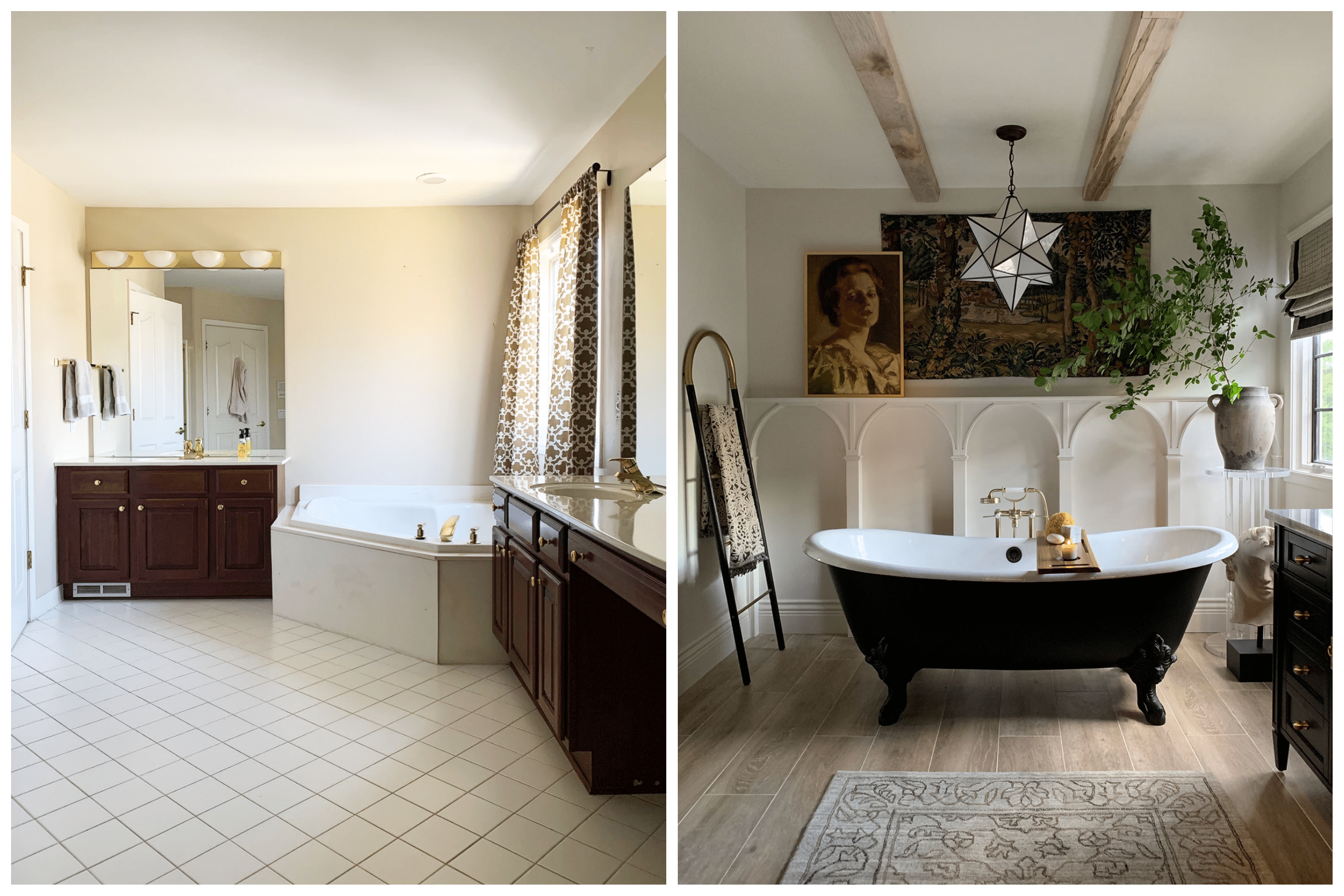 before and after of large primary bathroom with large clawfoot tub and wood look tile flooring