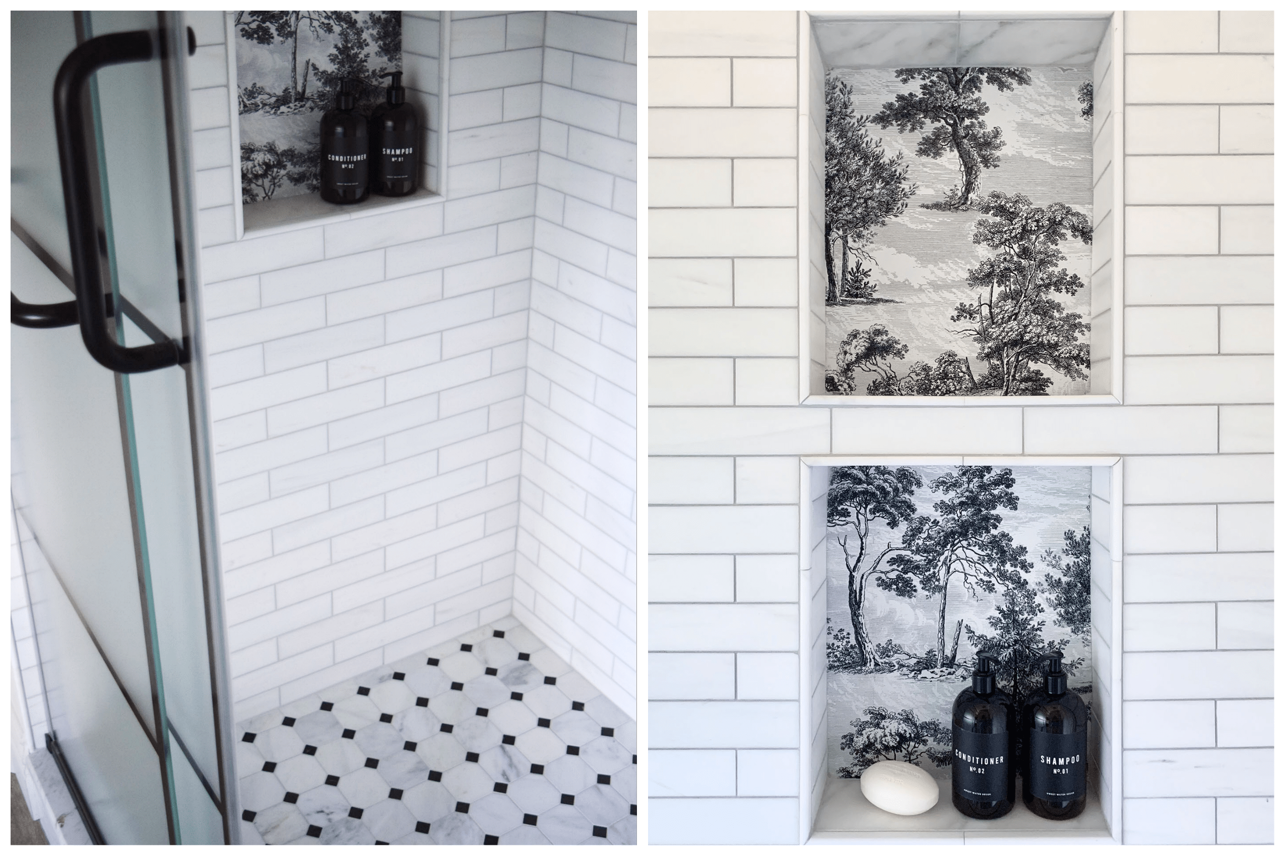 modern shower with white subway tile backsplash and forest wallpaper look tile niches