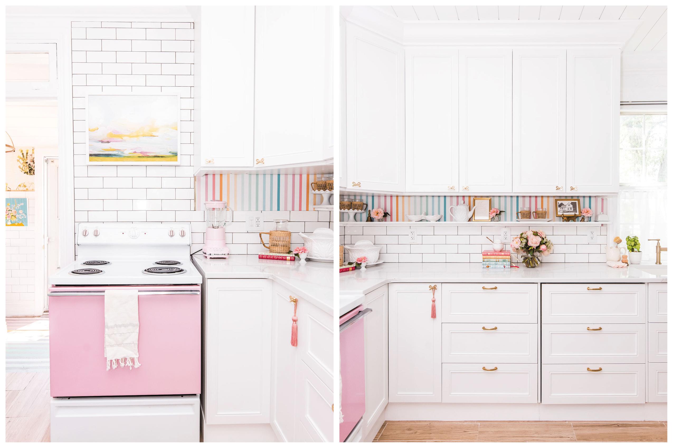 bright kitchen with white cabinets and white subway tile backsplash